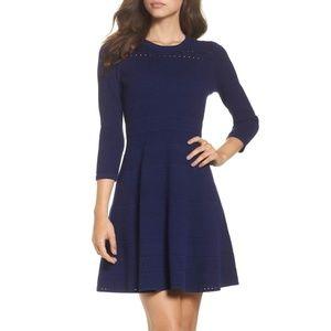 Eliza J Navy Fit & Flare Sweater Mini Dress A Line